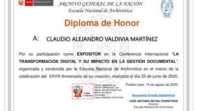 """DIPLOMA CONFERENCIA INTERNACIONAL de la Escuela Nacional de Archivística (ENA) """"La Transformación Digital"""" 2020"""